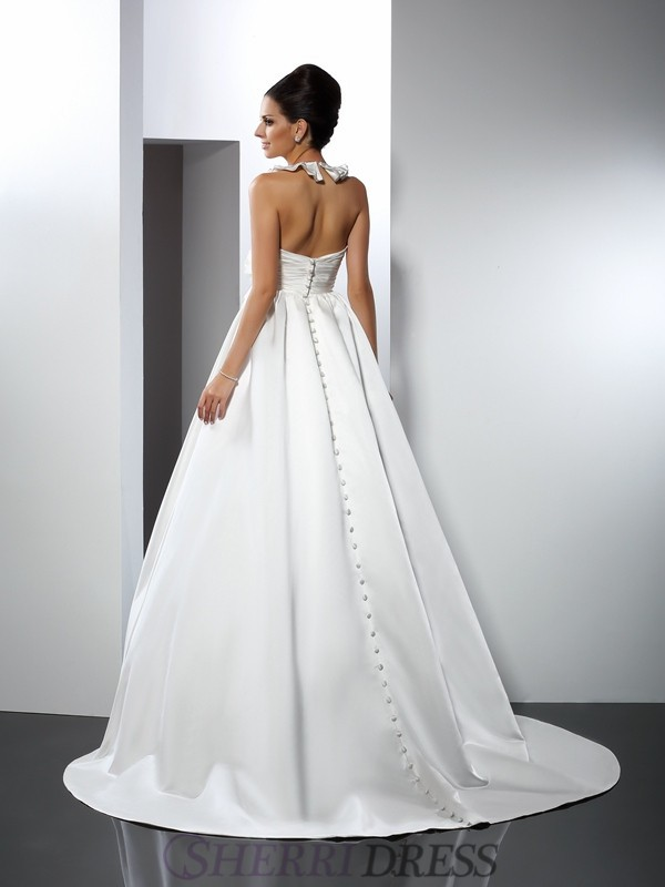 d1c9ee87 A-Line/Princess Halter Satin Sleeveless Chapel Train Wedding Dresses