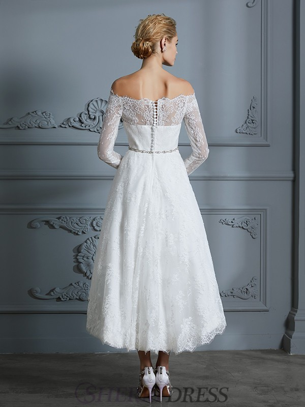 336e165f A-Line/Princess Off-the-Shoulder Lace Long Sleeves Asymmetrical Wedding  Dresses