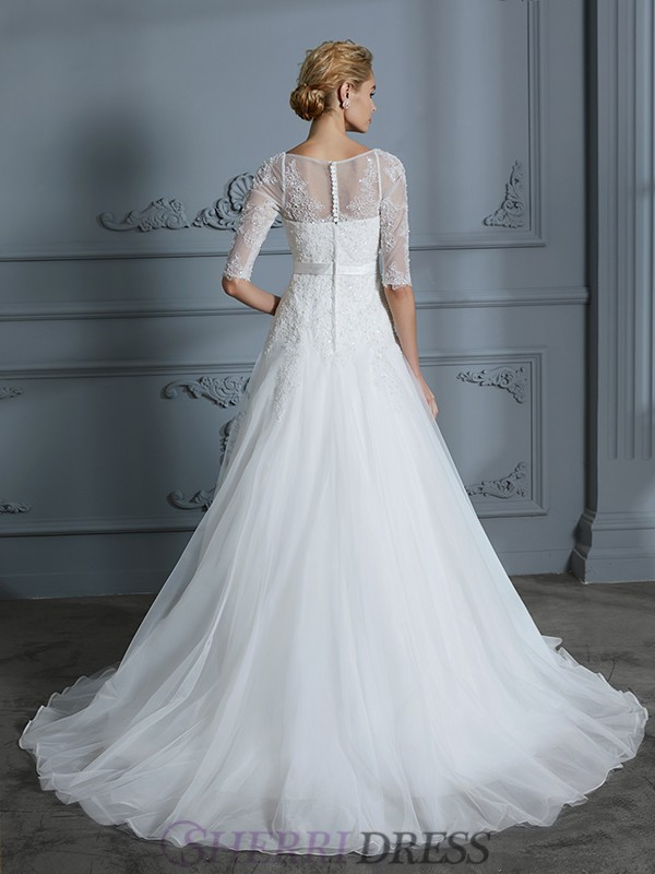 5cd2f670 ... Tyll Halv ermer Kort slep Brudekjoler · A-Line/Princess Scoop Tulle 1/2  Sleeves Court Train Wedding Dresses