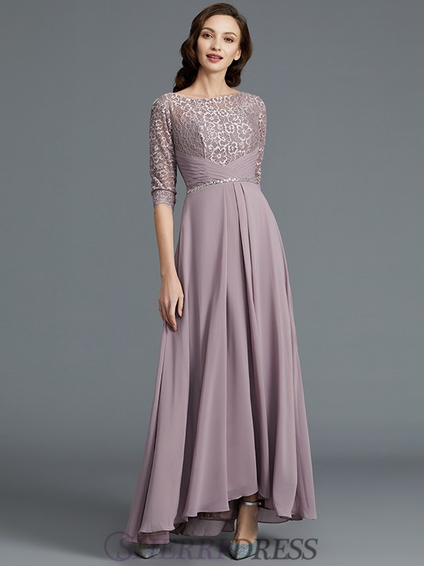 1f977a9a ... A-Line/Princess Scoop Chiffon 1/2 Sleeves Asymmetrical Lilac Mother of  the ...