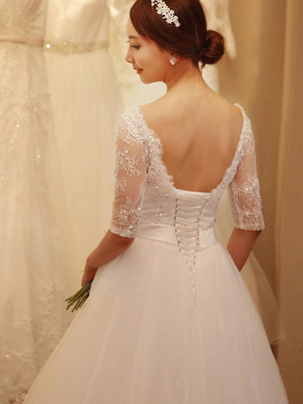37bdfb00 ... ermer Kort slep Brudekjoler · Trumpet/Mermaid V-neck Tulle 3/4 Sleeves  Court Train Wedding Dresses ...