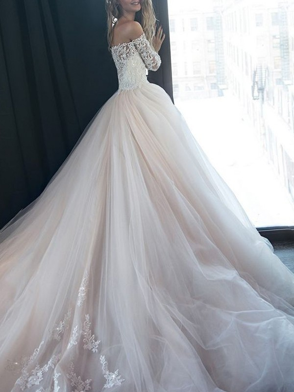 97e1a63a ... Tyll Lange ermer Kort slep Brudekjoler · A-Line/Princess  Off-the-Shoulder Tulle Long Sleeves Court Train Wedding ...
