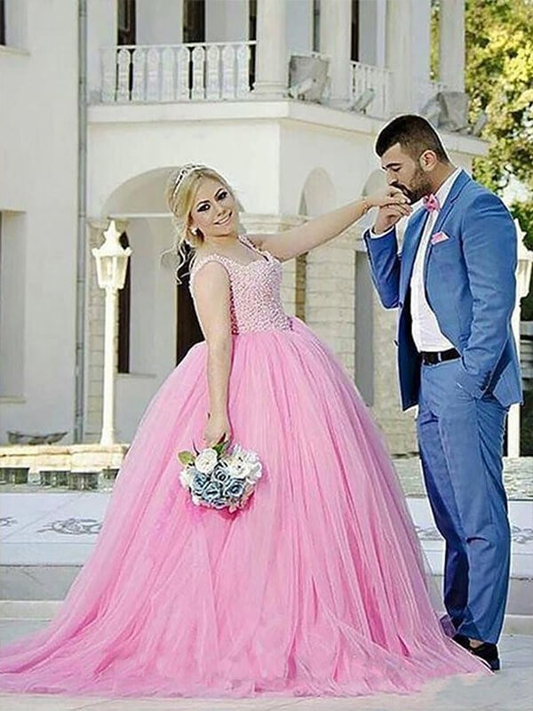 3a539c81 ... Ball Gown Sweetheart Tulle Sleeveless Sweep/Brush Train Plus Size  Dresses ...