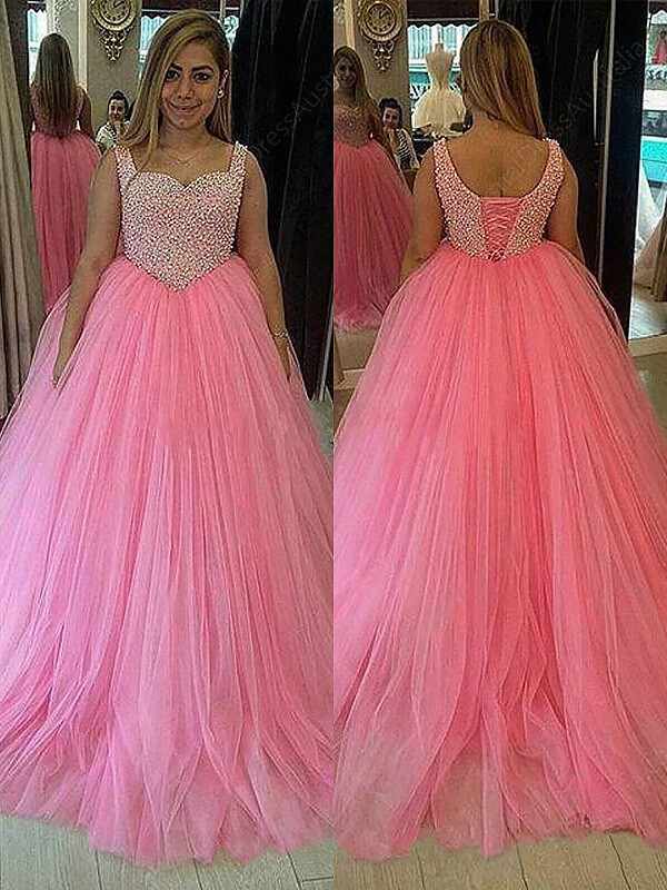 08e0ed91 ... Ball Gown Sweetheart Tulle Sleeveless Sweep/Brush Train Plus Size  Dresses