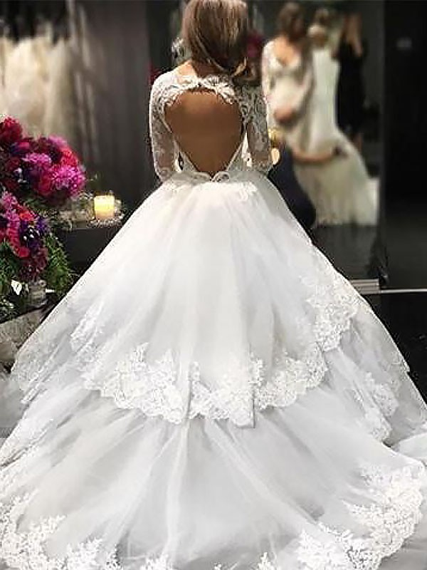 09eef9fc Ballkjole V-hals Tyll Lange ermer Kort slep Brudekjoler · Ball Gown V-neck  Tulle Long Sleeves Court Train Wedding Dresses